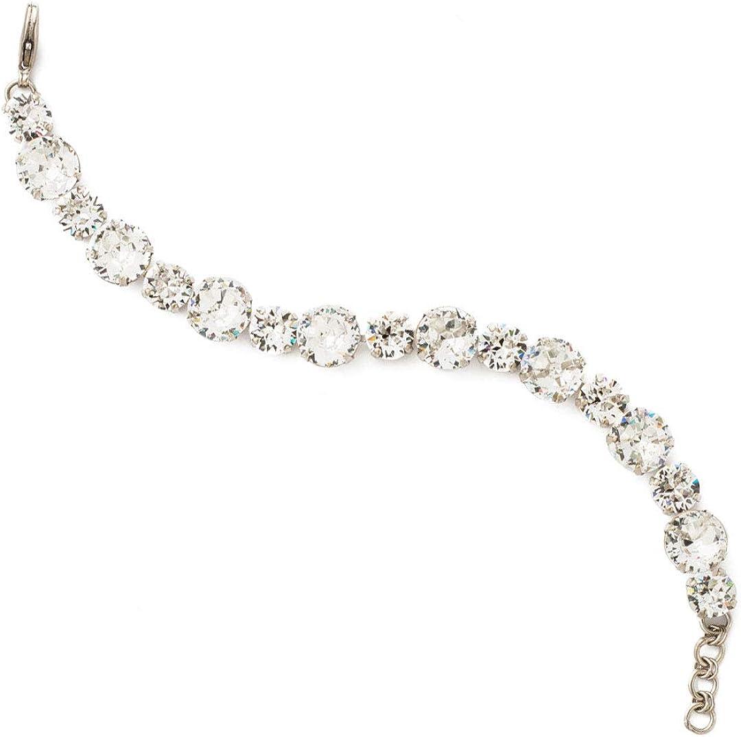 Sorrelli Round Cut Crystal Line Bracelet, Antique Silver-Tone Fi