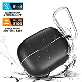 meritcase AirPods Pro Case, Waterproof AirPods Pro Case Shockproof Durable Protective Case Cover Skin with Hook for Apple Airpods Pro, Compatible with Wireless Charging, LED Light Visible