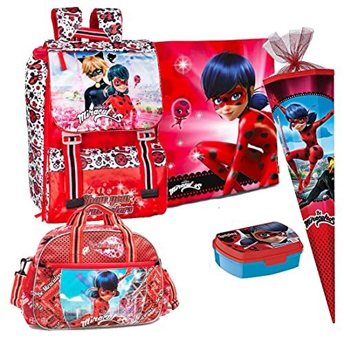 Kids4shop Miraculous Ladybug 5 Teile Set Schulrucksack Rucksack Tasche Schultasche Schultüte 85 cm