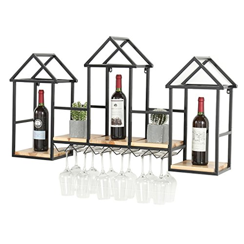 Colgador De Vino for Pared De Madera Maciza - Estante for Vino -110 * 60 * 20 Cm - Restaurante De Pared De Hierro Forjado Decoración for Gabinete De Vino Portavasos for Vino (Color : Black)