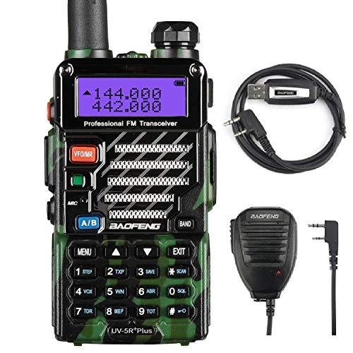 Baofeng UV-5R Plus Funkgerät Dualband VHF/UHF Handfunkgerät Amateurfunk LCD Display Walkie Talkie 128 Kanäle mit Mikrofon und Programmierkabel, Camouflage