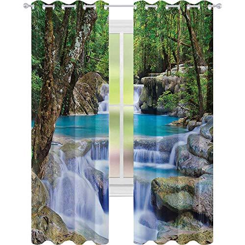Cortinas opacas impresas, imagen de hada de la cascada por las rocas en el bosque secreto paraíso, cortina de oscurecimiento de habitación de 52 x 63 para sala de estar, verde, azul y marrón