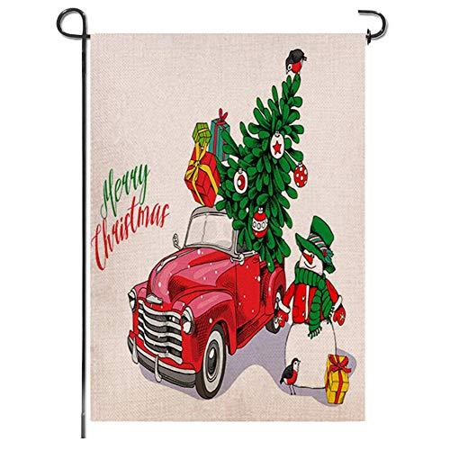 Bandera para jardín de Navidad de arpillera rústica con diseño de camión de Navidad y texto en...