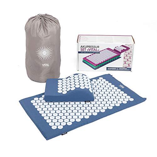 BODHI Vital Akupressur-Set 74 x 44cm Akupressur-Matte & -kissen, blau, inkl. Tasche, zur Selbstmassage, Entspannung, Förderung der Durchblutung