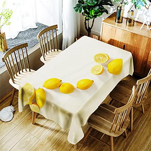 BWBJJ Rectangular Manteles limón , 3D impresión Impermeable Manteles, Mantelerias Antimanchas Lavable, Decoracion Mantel de Mesa, para Cocina Salón Comedor 90x90 cm