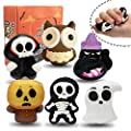 MeiGuiSha 6 Packs Halloween Squishies Toys Gift Box Includes Ghost, Pumpkin, Black Cat, Witch, Owl,Skull Soft Squishies Toys Great Sensory Halloween Games Toys for Kids Party
