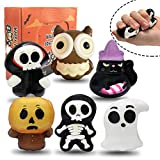 6 Packs Halloween Squishies Toys Gift Box Includes Ghost, Pumpkin, Black Cat, Witch, Owl,Skull Soft Squishy Toys Great Sensory Halloween Games Toys for Kids Party