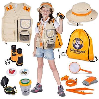 Kids Explorer Kit | Premium Kids Camping Toys and Outdoor Adventure Kits for Boys and Girls, 3-12 Years Old | Backyard Safari Vest & Hat, Kids Binoculars, Flashlight, Bug Kits for Kids, Compass, Ebook by Pathfinder Pandas