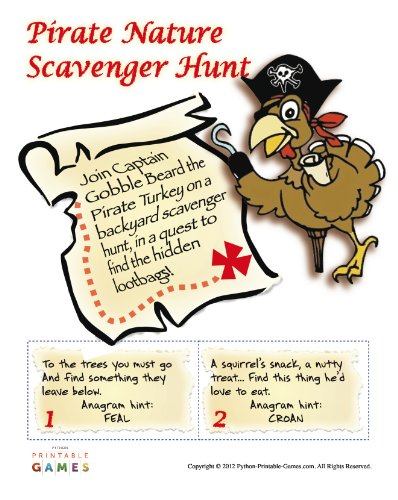 Nature Scavenger Hunt Printable Pirate Party Game for Mac [Download]