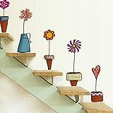 Vktech- Pegatinas Pared Decorativas Infantil con el Estilo del Mural Maceta Flor y Mariposa para decoración la Sala, Sala de Juegos