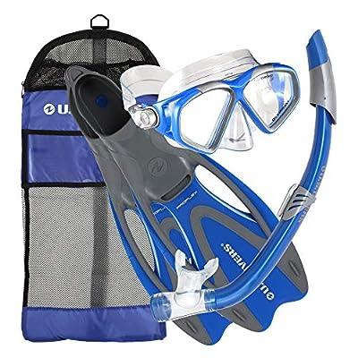 U.S. Divers Cozumel Seabreeze Adult Snorkeling Combo Set with Adjustable Mask, Snorkel, Medium Fins (6.5-8), and Travel Bag, Blue