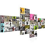 Bilder Collage Banksy Street Art Wandbild 150 x 60 cm Vlies - Leinwand Bild XXL Format Wandbilder Wohnung Deko Kunstdrucke - MADE IN GERMANY - Fertig zum Aufhängen 302745a