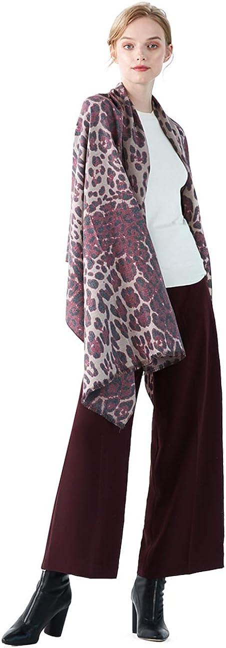 CARESEEN Schal Damen Herbst Winter mit Baumwolle, Leopard Druck, Pashmina Schals Stola Leopard 3 Dunkelrot