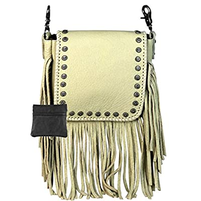 Handcrafted Leather 4 in 1 Bundle Clutch Crossbody Biker Bag w Fringe & Coin Key Fob