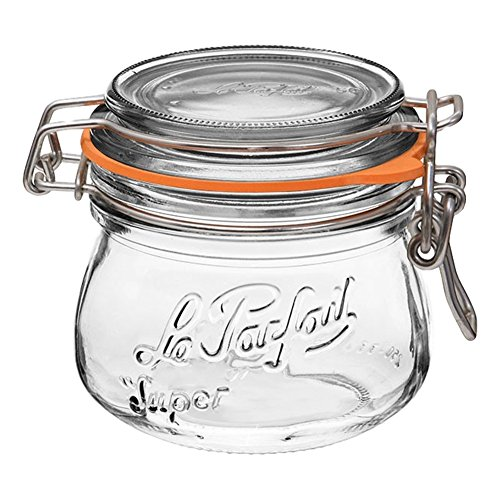 Le Parfait Super Jar - 250ml French Glass Canning Jar w/Round Body, Airtight Rubber Seal & Glass Lid, 8oz/Half Pint (Single Jar) Stainless Wire