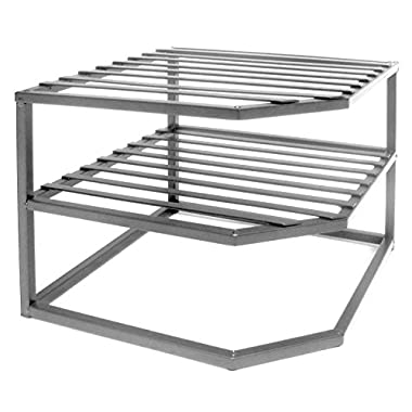 Seville Classics 2-Tier Corner Shelf Counter and Cabinet Organizer, Platinum