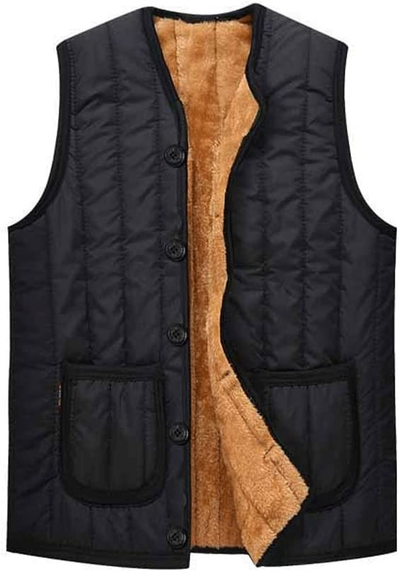 Men's Warm Vest, Black Puffer Vest Polyester Winter Outdoor Sleeveless Jacket Suitable for Father's Thanksgiving Gift (Size : XX-Large)