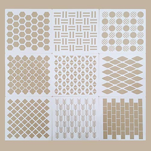 9-Pack (7.9x7.9 Inch) Painting Drawing Stencils Geometric Art Templates for Painting on Walls Canvas Wood Furniture Template Floor Wall Tile Fabric Wood Stencils DIY Craft Supplies- Reuseable