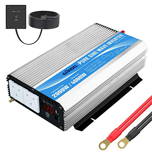 Pure Sine Wave Power Inverter 2000W DC 12V to AC 240V converter with remote...