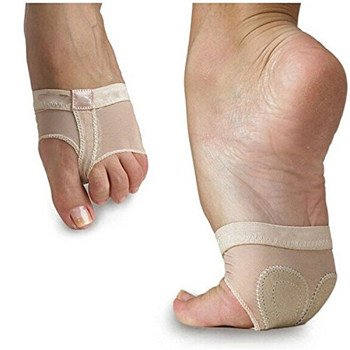 Cpdance(TM 2 pcs (1 Pair) Women's Ballet Belly Dance Lyrical Half Sole Paws Pad Foot Thong Dance Paw Shoes (Beige, X-Large)