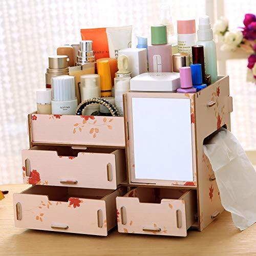 LLQM cosmetica-opbergdoos, 25,5 x 16,5 x 19 cm, creatieve opbergdoos, van hout, voor op het bureau, om te knutselen, grote capaciteit