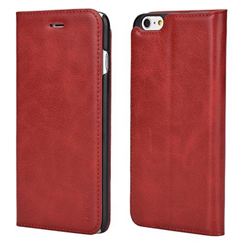 Mulbess Funda iPhone 6s Plus [Libro Caso Cubierta] Slim de Billetera Cuero Carcasa para iPhone 6 Plus / 6s Plus (5.5 Inch) Case, Vino Rojo