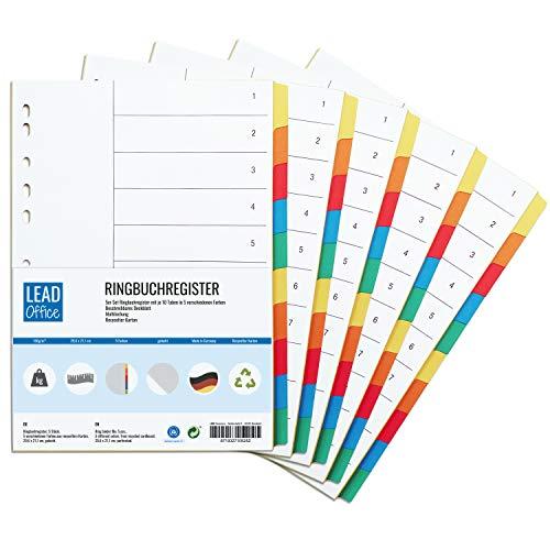 Ringbuchregister, 5er Set, Register mit je 10 Taben in 5 Farben, 29,6 x 21,1 cm, gelocht, 160g/m², DIN-A4 Format, Trennblätter mit beschreibbarem Deckblatt für A4 Ordner