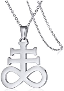 Blowin Silver Stainless Steel Church of Satan Satanic Leviathan Religions Cross Pendant Necklace, 22 Inch Chain