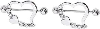 F Fityle 2pcs Rhinestone Leaning Heart Nipple Ring Bars Heart NippleRings Jewelry 16g