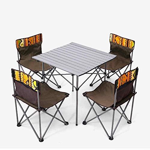 Silla de playa plegable conjunto de mesa y portátil plegable mesa de camping y sillas, mesa de camping Sillas, plegable poco voluminoso Mochila Ligera Mesa y silla for exterior, Camp, picnic, senderis