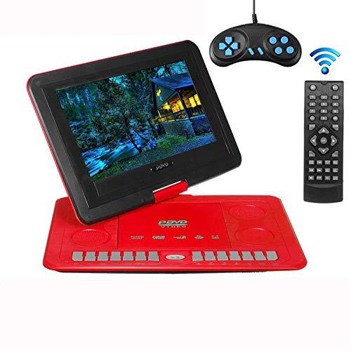 Lhlbgdz Reproductor de DVD portátil, Reproductor de DVD de 9.8'Control de Video del Juego Recargable Rotación de 270 Grados con Juego FM Radio TV AV Cargador de Coche,Rojo