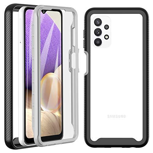 OWKEY Handyhülle für Samsung Galaxy A32 5G Hülle, 360 Grad Stoßfest Handyhülle Transparent TPU Bumper Hülle Schutzhülle Cover mit eingebautem Bildschirmschutz für Samsung Galaxy A32 5G 6,5