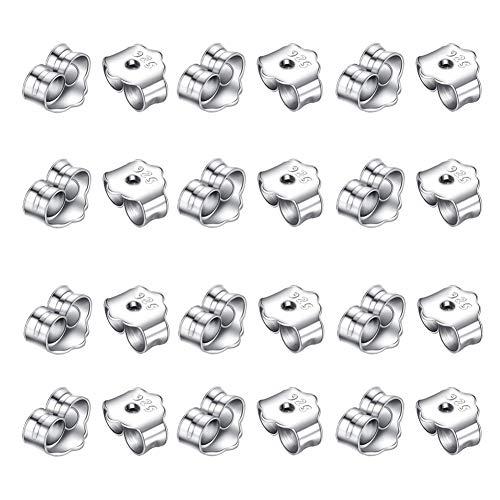 Yuccer Ohrring Rücken Stopper Earring Backs 925er Sterling Silber Schmetterling Ohrring Rücken für Ohrstecker (24 Stücke)
