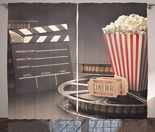 ABAKUHAUS Kino Rustikaler Vorhang, Film, Wohnzimmer Universalband Gardinen mit Schlaufen und Haken, 280 x 225 cm, Mehrfarbig
