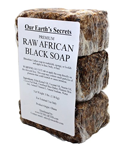 Our Earth's Secrets Raw African Black Soap, 3 Lbs by Our Earth's Secrets