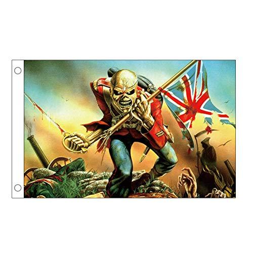 Mittelalterlichen Stil Banner - Skull Skeleton Soldat England Flagge - Robust Genug für Drinnen Oder Draußen Dekorieren (90 x 150 cm)