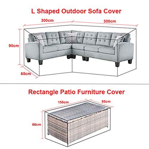 L-förmigen abdeckung lounge sofa - lounge abdeckung l-form mit Spannschnüren unten,210D abdeckplane für gartenmöbel L-Form schutzhüllen für gartenmöbel (L-Form 300x300x90 cm + Rechteck 155x95x68 cm) - 3