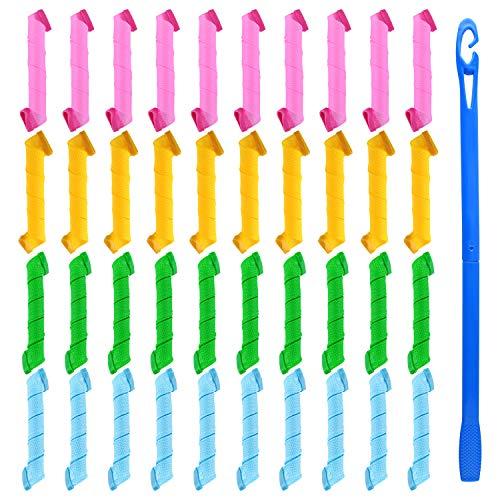 FEPITO Lot de 40 bigoudis magiques Boucles en spirale Styling Hair Rollers Kit Wave Styles Sans chaleur Bigoudi et crochets de coiffage pour toutes les longueurs de cheveux, 30 cm / 12 pouces