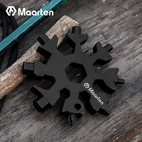 18 in 1 Stainless Steel Snowflakes Multi-Tool, Incredible Tool Outdoor Wrench Multi-tool STANDARD/METRIC Snowflake Wrench Cool gadgets, Screwdriver -Bottle opener,Camping, Great Christmas gift(Black)