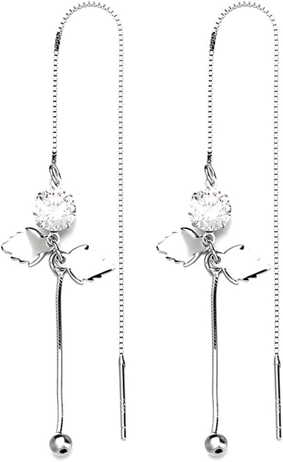 AZPINGPAN Maple Leaf Zircon Philadelphia Mall Max 46% OFF 925 Long Silver Sterling Drop Tassel
