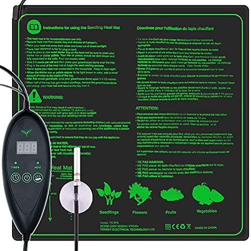 RINBO Einstellbar Heizmatte Warmematte, Heizmatte Pflanzen mit 6 Timer und 6 Temperaturstufen Warmematte,verfugt uber Sonden und LCD-Anzeige,fur Pflanzen und Zimmergewachshaus,100{3030077ca8373bef00c231cc2f9a87930a4a1658d3cee931d3778ea9d9c70323} Wasserdicht 20×20''