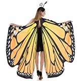 Spooktacular Creations Butterfly Wings Cape Fairy Shawl Costume Accessory with Antenna Headband-Orange