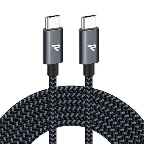 RAMPOW 60W USB C to USB C Cable 10ft - Power Delivery Charger Cable - USB 2.0 Long Type C to Type C Cable for MacBook Air/Pro 2015+, iPad Pro 2020/2018, Samsung Galaxy S20/S10/S9 etc - Space Gray
