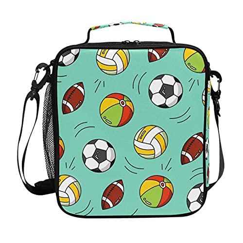 HaJie - Bolsa de almuerzo con aislamiento de balón de fútbol con soporte para botellas para mujeres, niños, niñas, hombres, trabajo, bolsa térmica para almuerzo