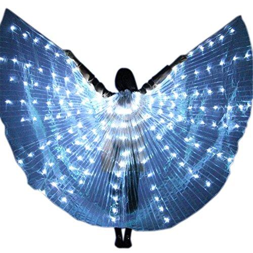 Brawdress Damen LED-Licht Isis Flügel Bauchtanz Kostüme | 360 Grad Große Schmetterling - Verstellbarem Sticks Professionelle Tanzen Requisiten (Weiß)
