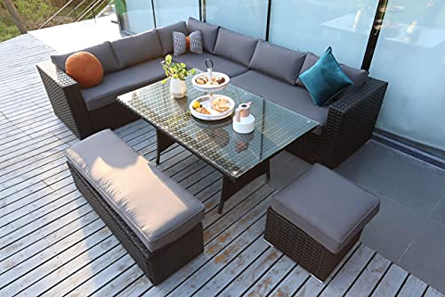 Andrew 9 Seaters Luxury Corner Sofa Garden Patio Outdoor Furniture Set with Dining Table Bench Stool and Raincover - Black Rattan and Dark Grey Cushion