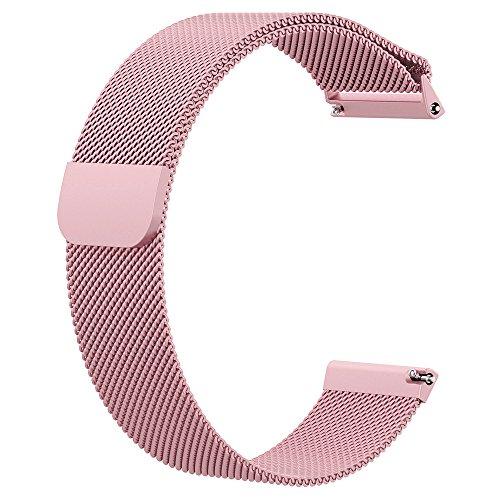 Fawyhr Correa de Reloj de liberación rápida, Correa de Metal de Acero Inoxidable Milanés Muella de Pulsera, Banda de reemplazo de Bloqueo magnético Smart Watch Pulseras para Hombres Mujeres