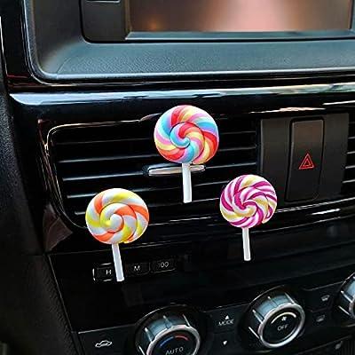 3pc simulation arc-en-ciel lollipop voiture parfum perfumeur résine plastique coloré lollipop modèle mignon voiture accessoires intérieur femme