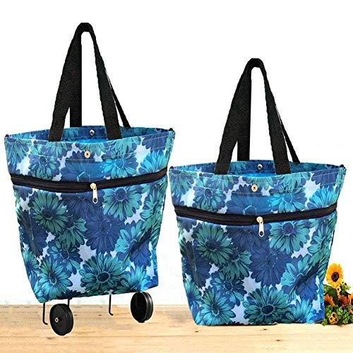 Hainter Rollende Einkaufstasche Oxford Tuch Faltbare Rad Einkaufstasche Leichte strapazierfähige Doppelzweck Tote Schulter Trolleys(Blau)
