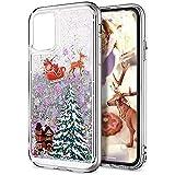 Funda para iPhone 13 Pro con diseño de gradiente de Navidad con purpurina flotante y arena movediza, silicona que fluye brillante, delgada, para iPhone 13 Pro, color rosa y plateado